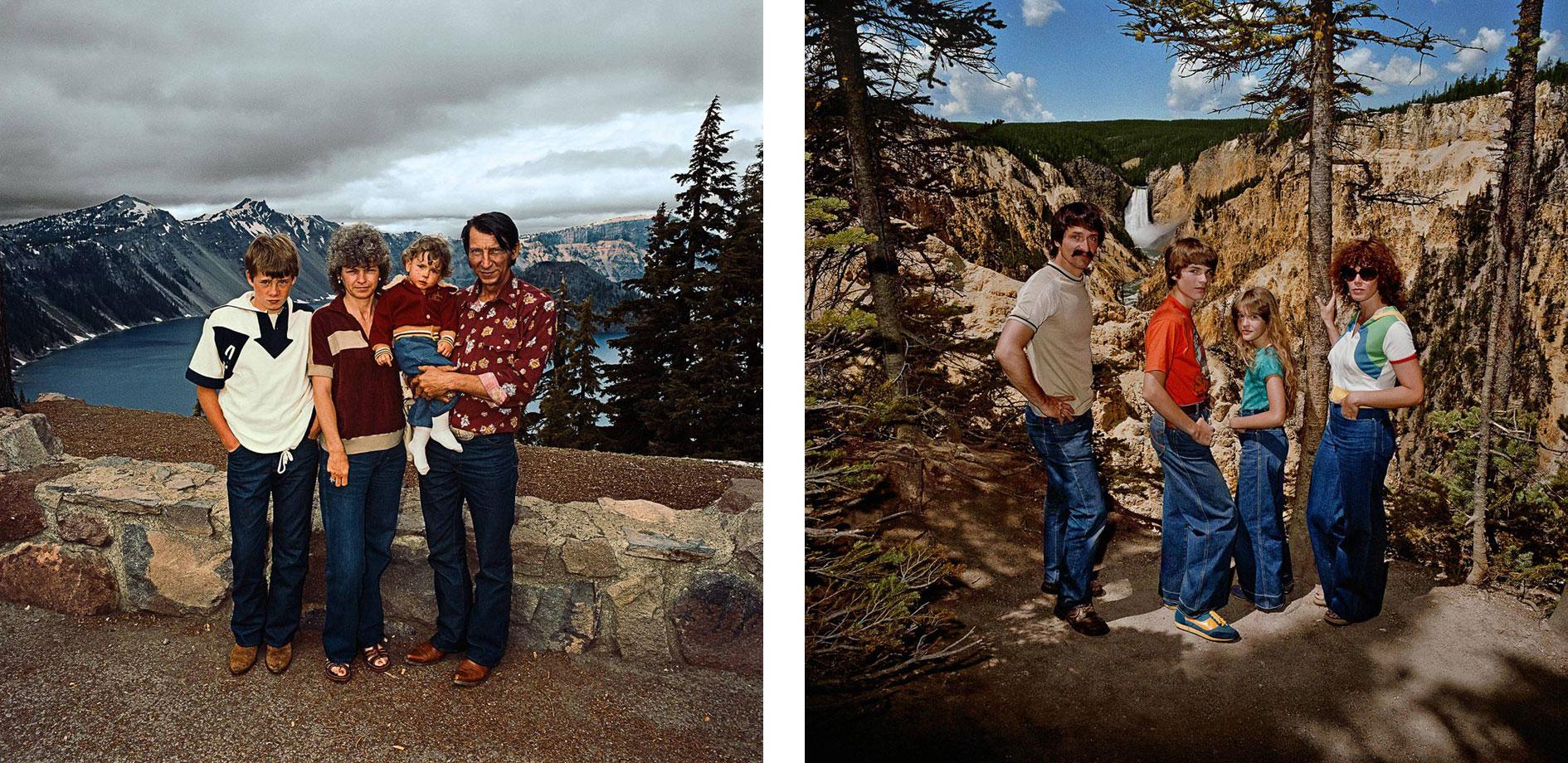 Family at Crater Lake National Park, OR. 1980 Family at Lower Falls Overlook, Yellowstone national Park, WY. 1980 (r)