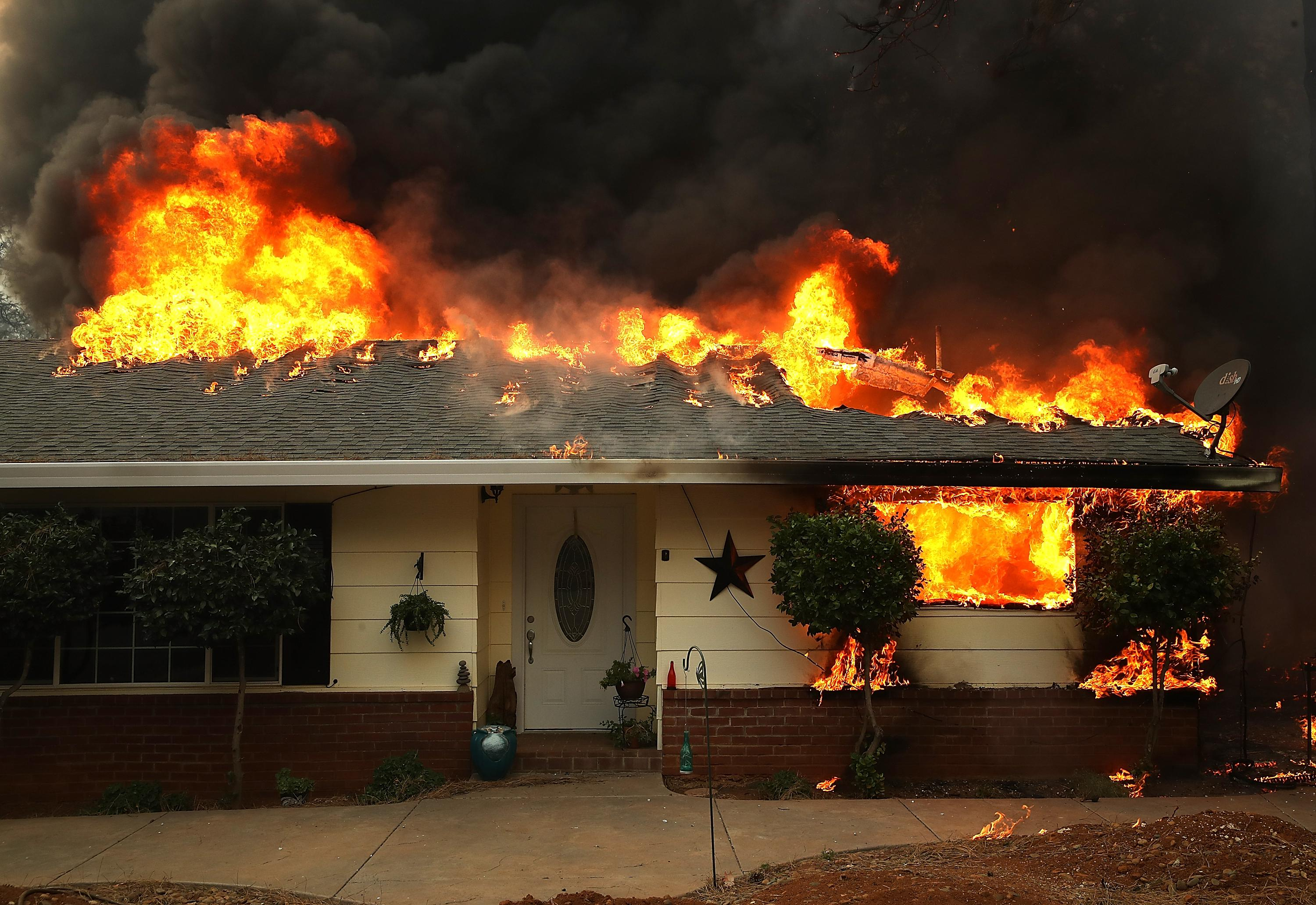 A home on fire.
