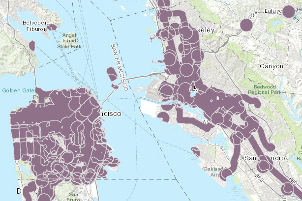 Purple areas show plots within a half-mile of train stations or high-frequency bus routes.