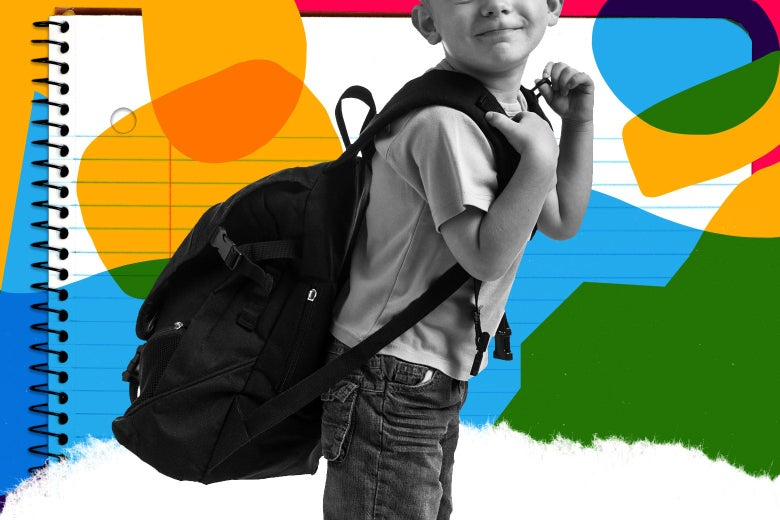 A young boy carries a big, heavy backpack.