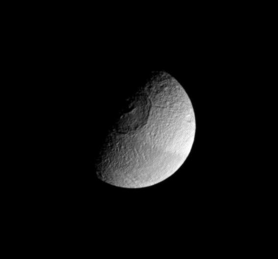 Tethys, a fully armed and operational moon of Saturn.