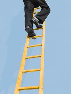 Climbing the ladder.