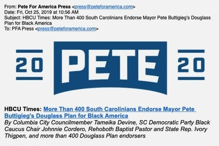 "A screen shot of a press release pointing to an article in the HBCU Times titled ""More than 400 South Carolinians endorse Mayor Pete Buttigieg's Douglass Plan for Black America."""