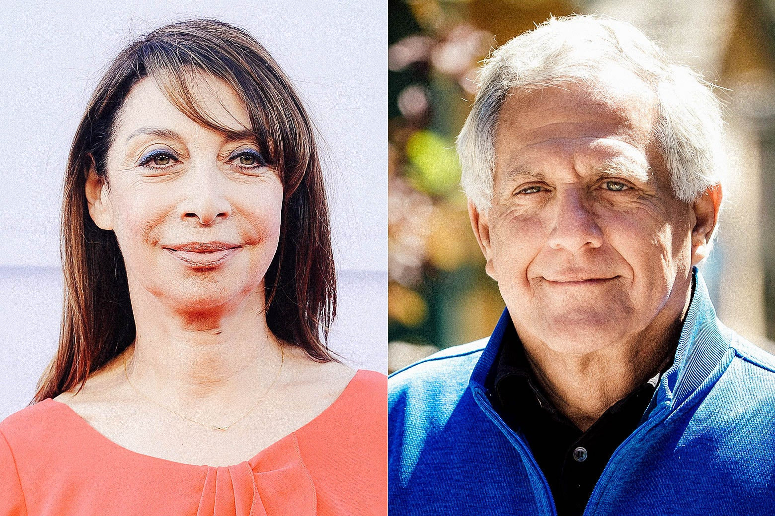 A side-by-side photo of Illeana Douglas and Les Moonves.