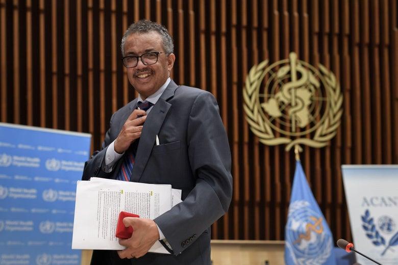 World Health Organization Director-General Tedros Adhanom Ghebreyesus at WHO headquarters in Geneva on July 3, 2020.
