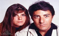 Katharine Ross and Dustin Hoffman in a publicity shot for 'The Graduate'.
