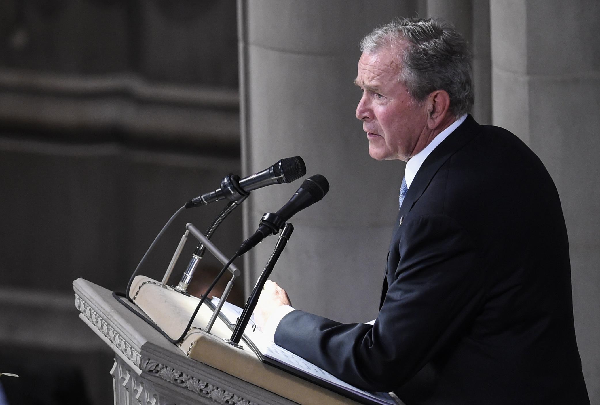 Former President George W. Bush speaks during a memorial service for Senator John McCain at the Washington National Cathedral in Washington, D.C., on September 1, 2018.