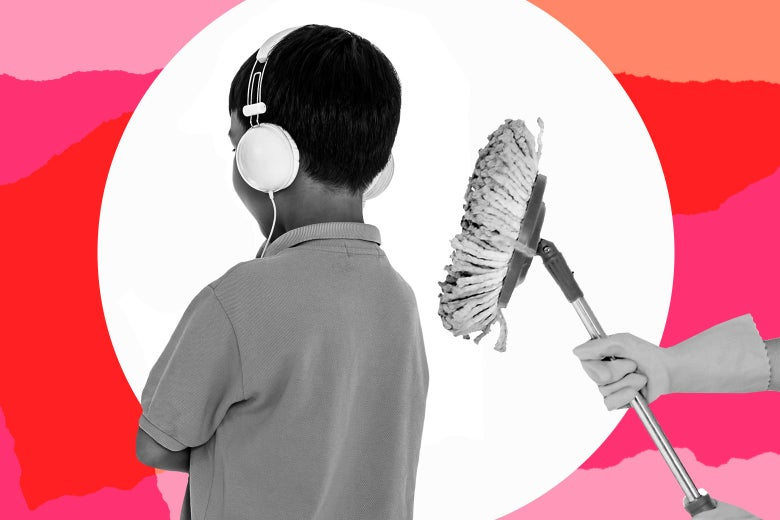 Photo illustration of a boy wearing headphones. He is positioned with his back to a hand holding out a mop.
