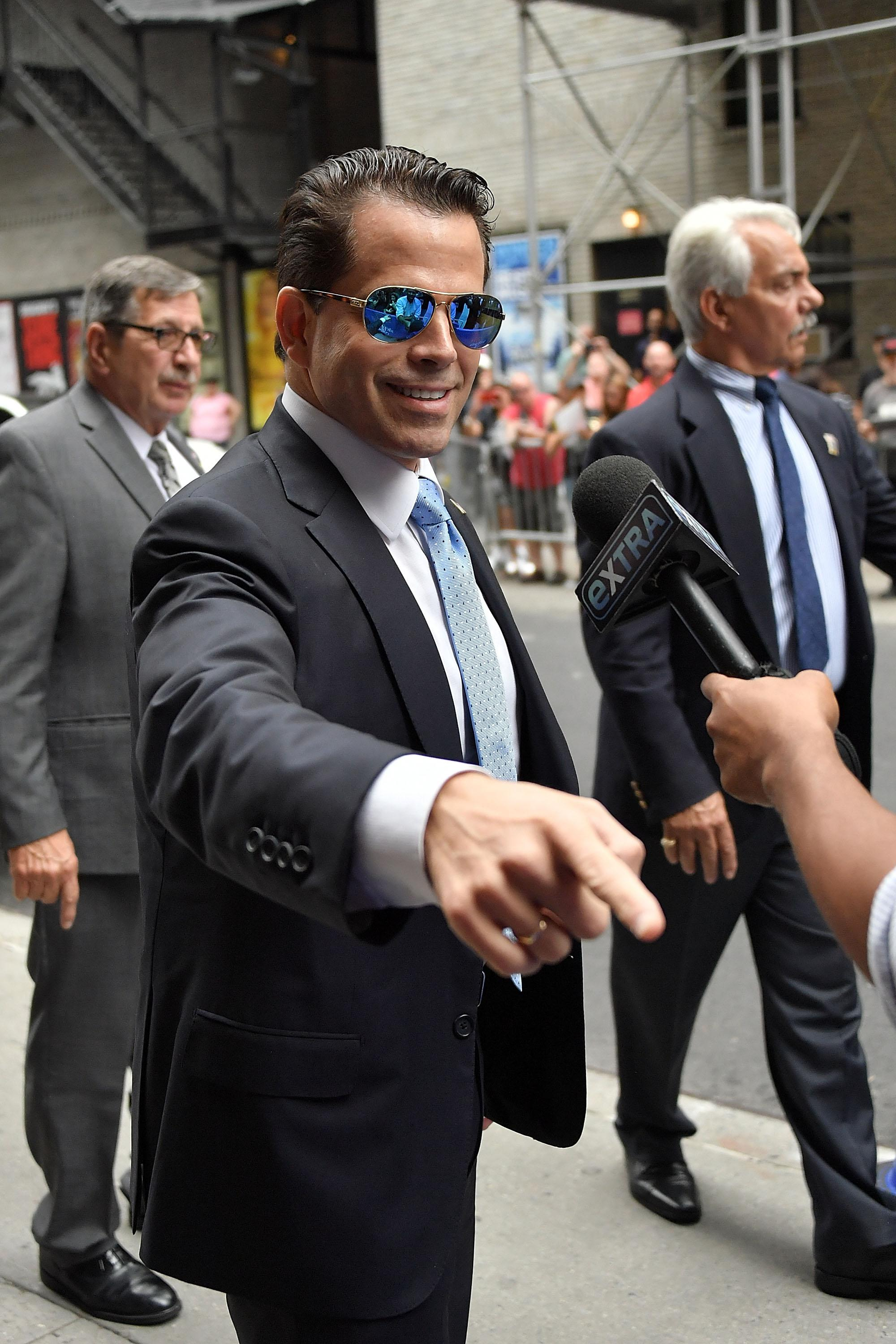 Anthony Scaramucci, in mirror shades, headed in to The Late Show with Stephen Colbert.