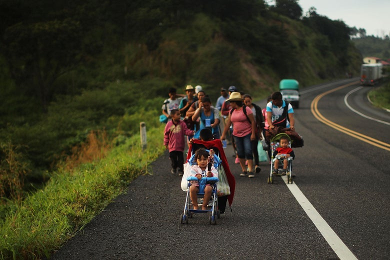 MATIAS ROMERO, MEXICO - NOVEMBER 02: As fatigue from the heat, distance and poor sanitary conditions has set in, the numbers of people participating in the trek has slowly dwindled but a significant group are still determined to get to the United States.