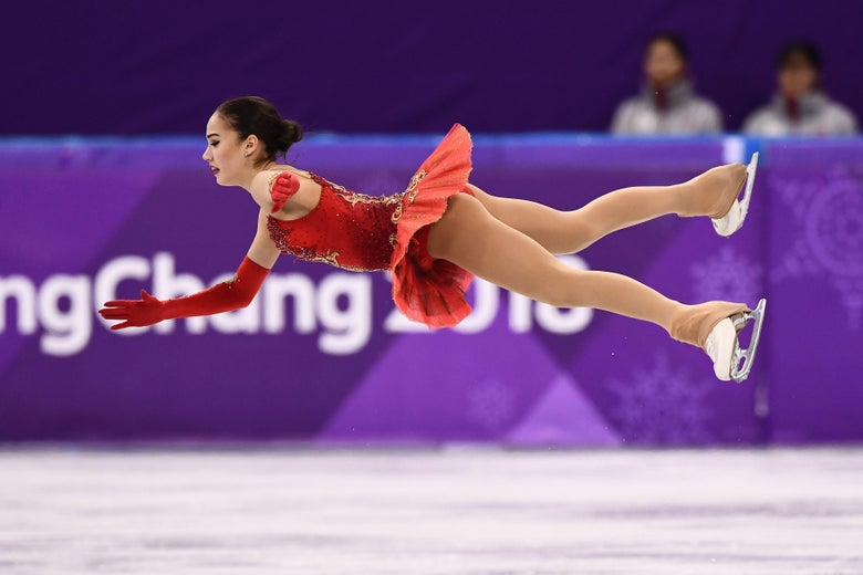 Russia's Alina Zagitova competes in the women's single skating free skating of the figure skating event during the Pyeongchang 2018 Winter Olympic Games at the Gangneung Ice Arena in Gangneung on February 23, 2018. / AFP PHOTO / ARIS MESSINIS        (Photo credit should read ARIS MESSINIS/AFP/Getty Images)
