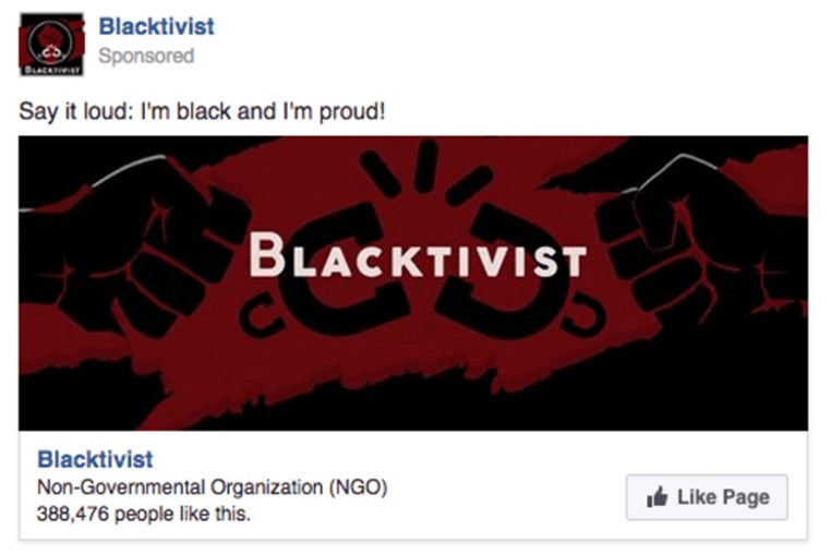 Facebook screengrab of Blacktivist suggested page ad.