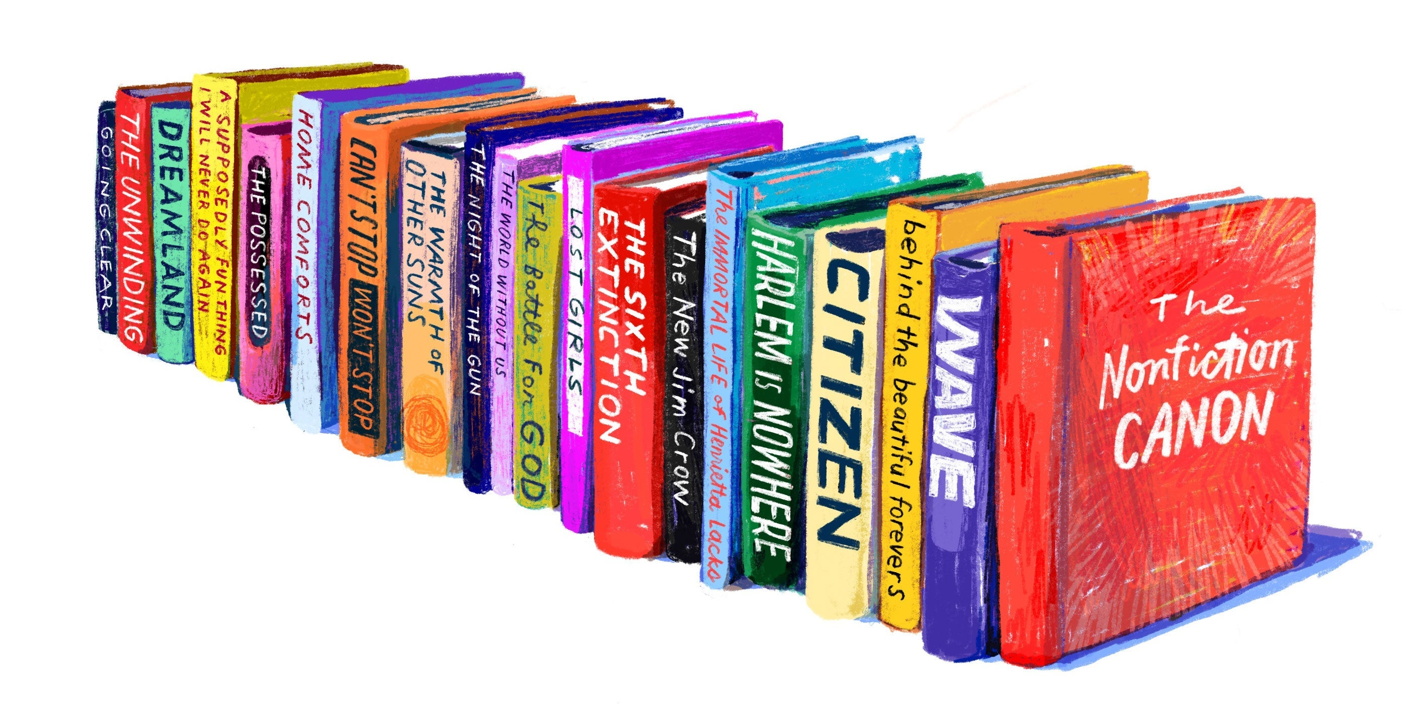 A row of brightly colored nonfiction books.