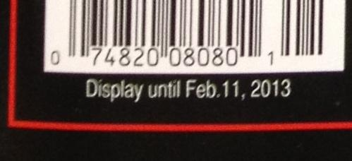 """Close up of a """"sell by"""" date on the magazine cover"""