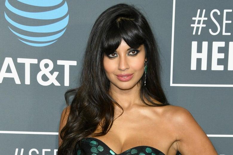 Actress Jameela Jamil on a red carpet.
