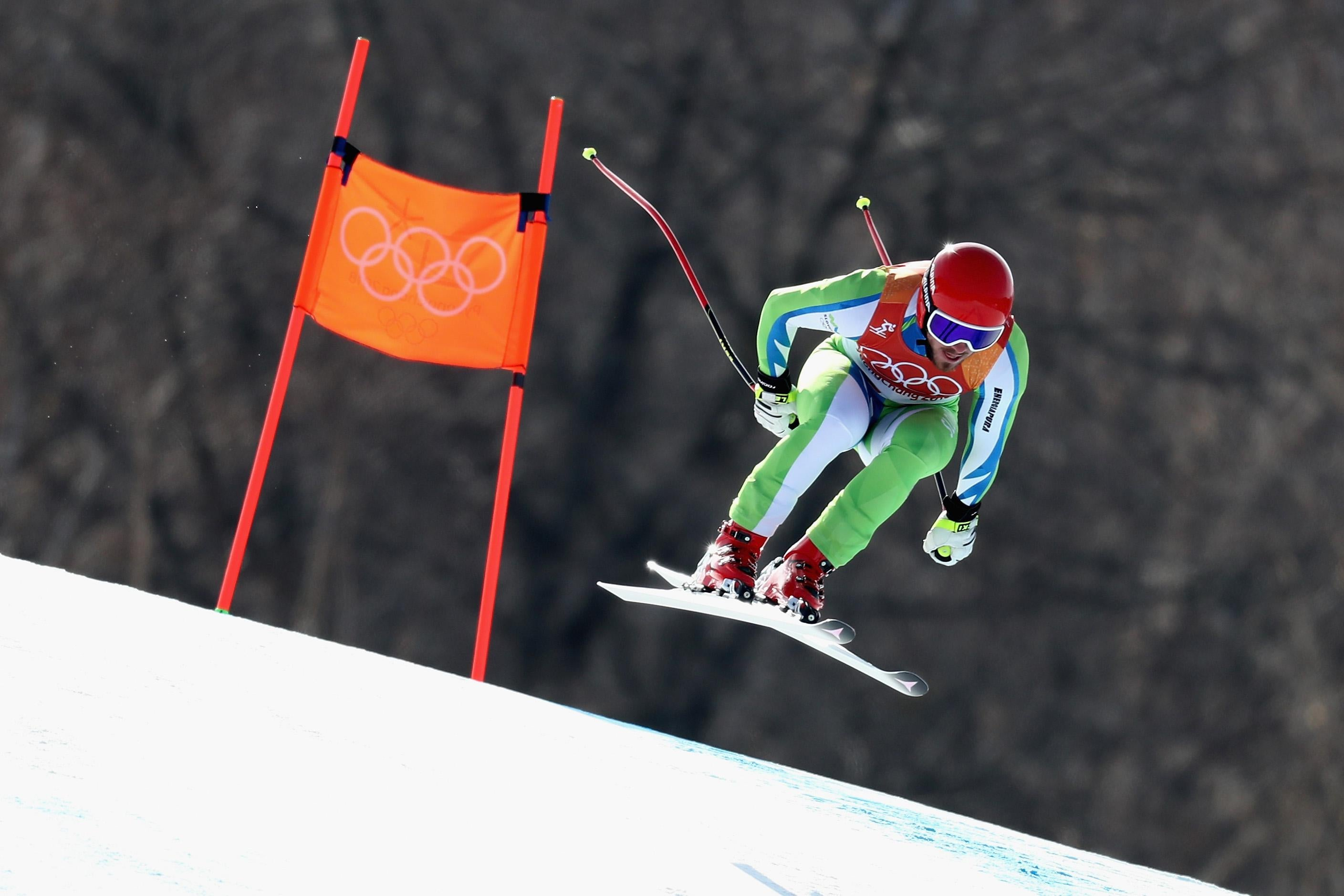 PYEONGCHANG-GUN, SOUTH KOREA - FEBRUARY 15:  Miha Hrobat of Slovenia makes a run during the Men's Downhill on day six of the PyeongChang 2018 Winter Olympic Games at Jeongseon Alpine Centre on February 15, 2018 in Pyeongchang-gun, South Korea.  (Photo by Al Bello/Getty Images)