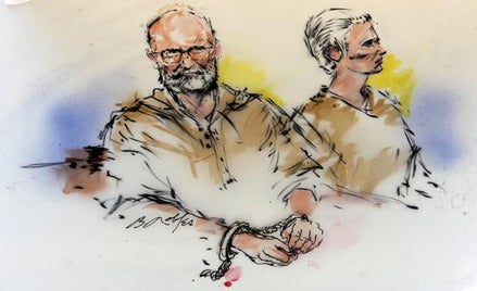 "Accused Boston crime boss James ""Whitey"" Bulger (L) and his girlfriend Catherine are shown during their arraignment in federal court."