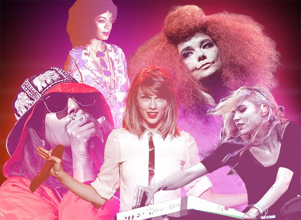 M.I.A., Solange Knowles, Taylor Swift, Björk, and Grimes.