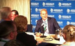 Schiff talking to admirers on Saturday at the Americans for Prosperity's Defending the American Dream conference.