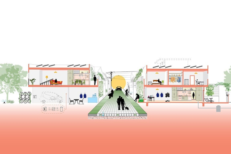 A diagram showing an alleyway rehabilitated as a quiet residential street.