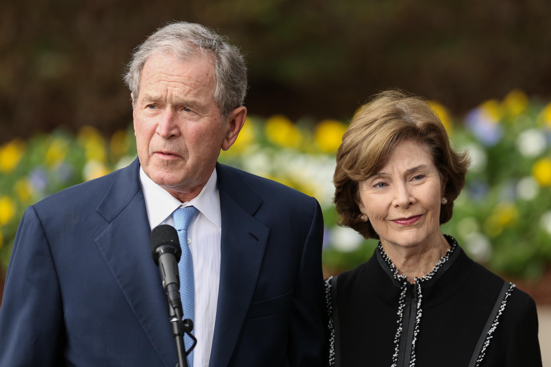 Former President George W. Bush and First Lady Laura Bush