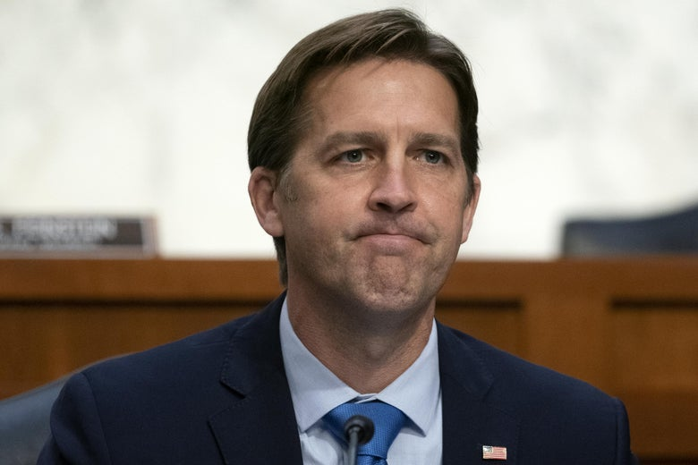 Sen. Ben Sasse (R-NE) listens as Supreme Court nominee Judge Amy Coney Barrett testifies before the Senate Judiciary Committee on the third day of her Supreme Court confirmation hearing on Capitol Hill on October 14, 2020 in Washington, D.C.