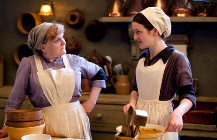 Mrs. Patmore (Lesley Nicol) and Daisy (Sophie McShera).Downton Abbey