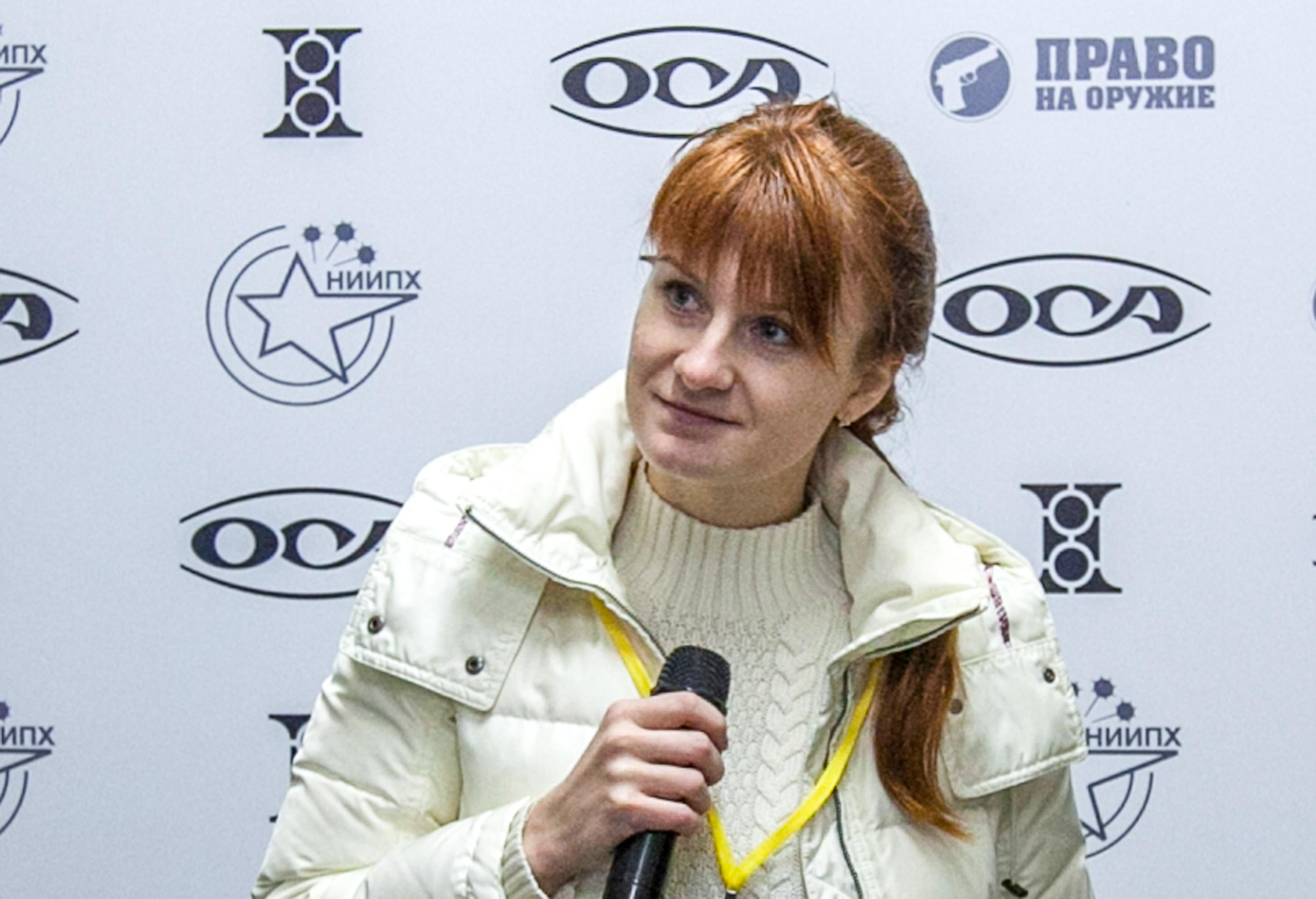 Accused Russian spy Maria Butina speaks on October 8, 2013 during a press conference in Moscow.