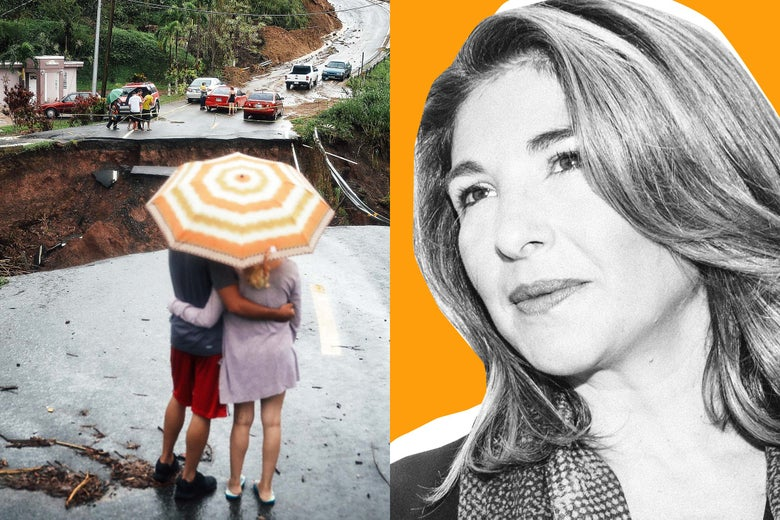 Left, People look on at a section of a road that collapsed and continues to erode days after Hurricane Maria swept through the island on October 7, 2017 in Barranquitas, Puerto Rico. Right, Naomi Klein.
