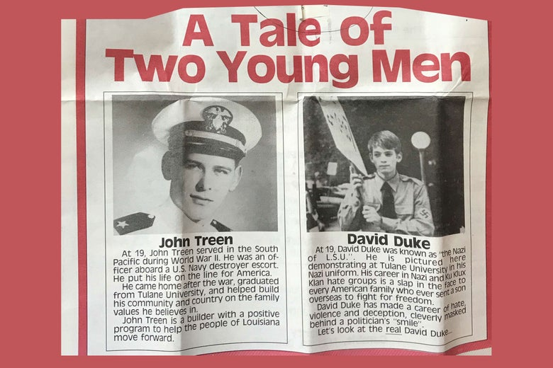 "Photo of the flyer described above. It reads ""A Tale of Two Young Men,"" with Treen on left in Navy whites and a description below, and Duke on right in his Nazi brownshirt uniform and description below."