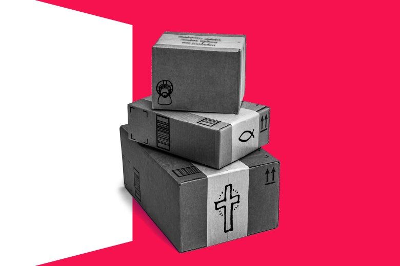 A few stacked packages with religious symbols drawn on them.