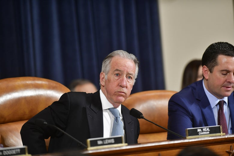 WASHINGTON, DC - MARCH 03: House Ways and Means Committee Chairman Rep. Richard Neal (D-MA) listens as U.S. Treasury Secretary Steven Mnuchin testifies before the House Ways and Means Committee on the FY2021 budget at the U.S. Capitol on March 3, 2020 in Washington, DC. (Photo by Mark Makela/Getty Images)