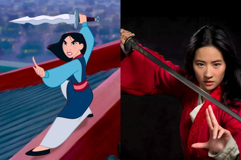 Mulan in the 1998 animated film, and Liu Yifei as Mulan in the 2020 remake.