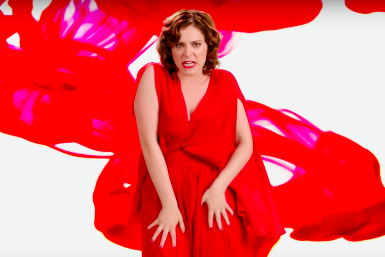 Crazy Ex-Girlfriend's Rachel Bloom in a flowing red dress.