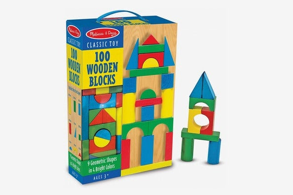 Melissa & Doug Wooden Building-Blocks Set