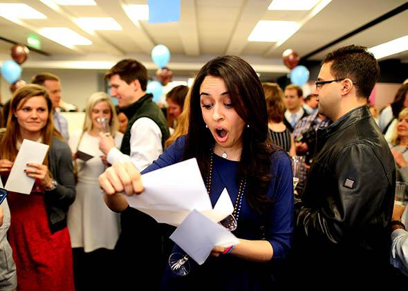Fourth-year medical students from Tufts University School of Medicine gather on Match Day to receive their envelopes telling them where they will do their residency training
