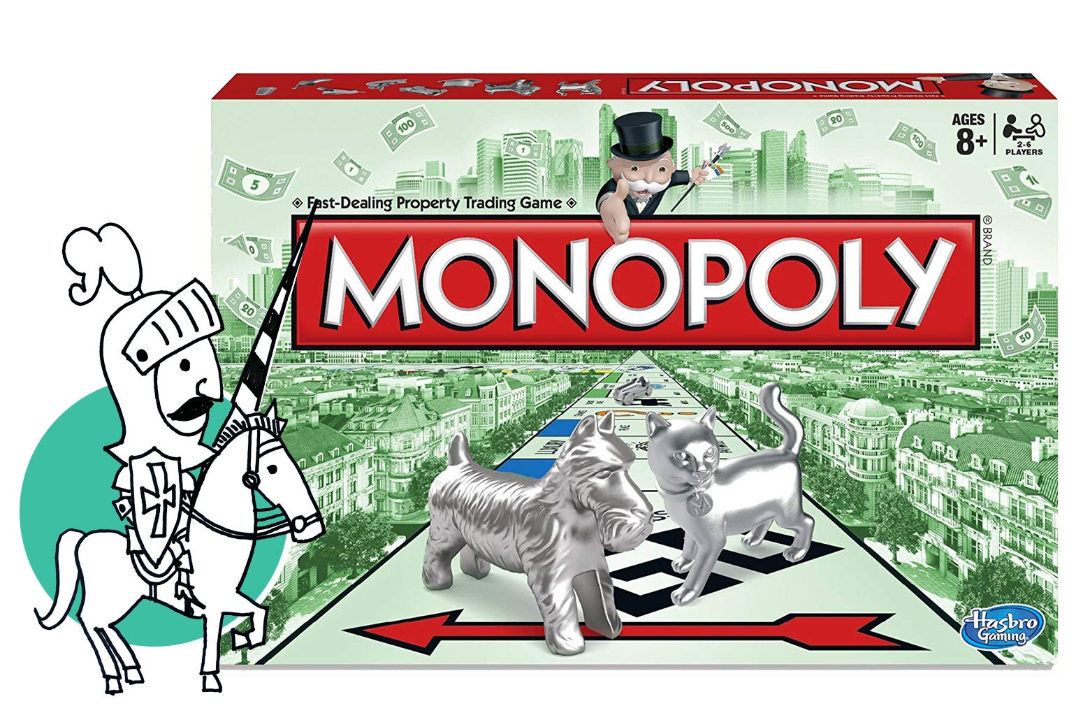 A Monopoly game being defended by a knight.
