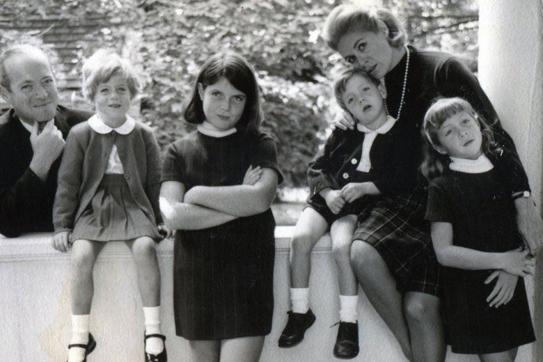 Black-and-white photo of Rhoda with her family.
