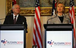 U.S. Secretary of Defense Robert Gates and U.S. Secretary of State Hillary Clinton. Click iamge to expand.