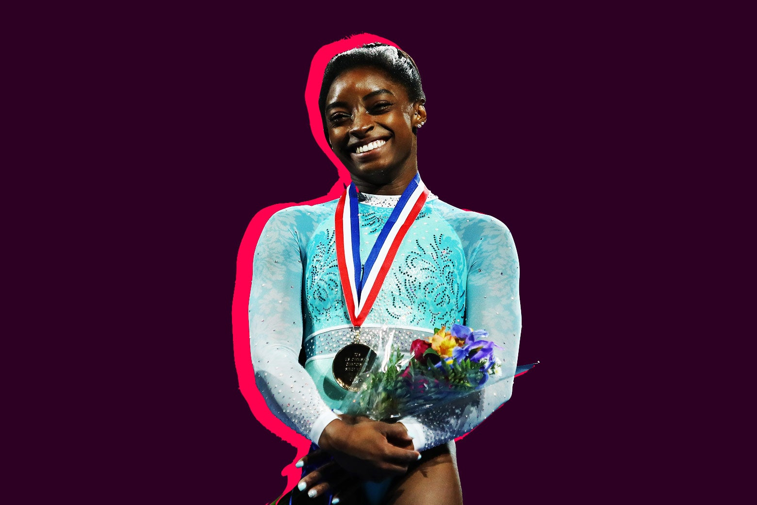 Simone Biles stands on the podium after winning her record fifth U.S. all-around title at the U.S. Gymnastics Championships 2018 in Boston on Sunday.