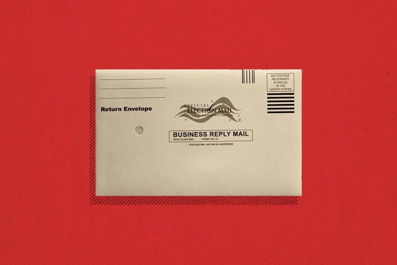 An envelope for an absentee ballot