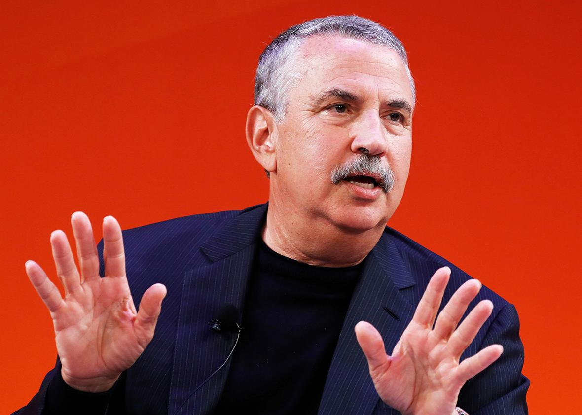 Thomas Friedman speaks onstage at the Fireside with the New York Times talk on the Times Center Stage during 2016 Advertising Week New York on September 29, 2016 in New York City.