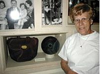 My mother with Babe Ruth's bowling ball