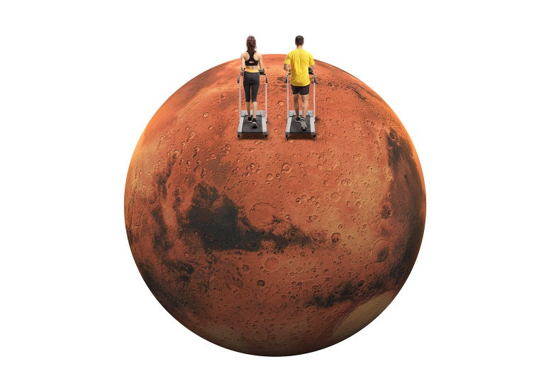 Photo illustrations of two people jogging on treadmills on Mars