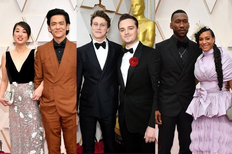 Collage of Kerri Higuchi and John Cho, George MacKay and Dean-Charles Chapman, and Mahershala Ali and Amatus Sami-Karim on the red carpet.