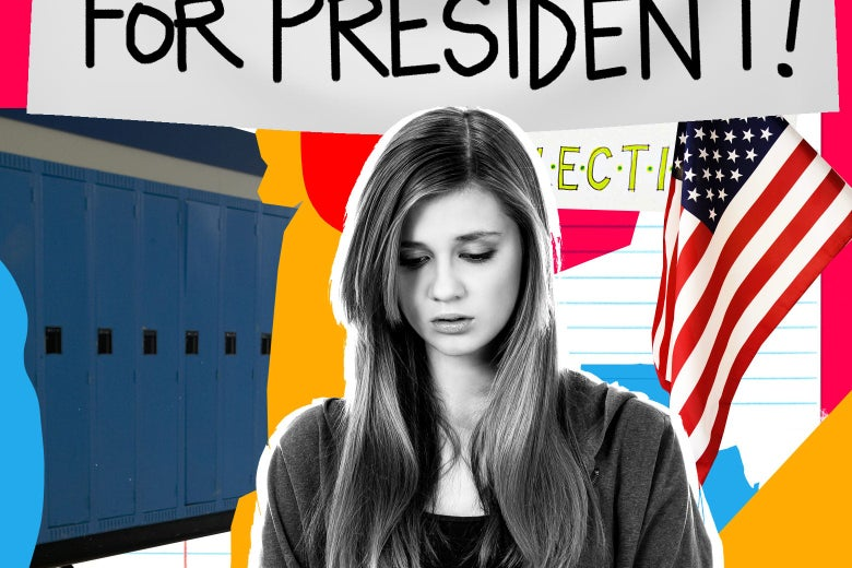 A teenager looks dejected beneath student government campaign signs.