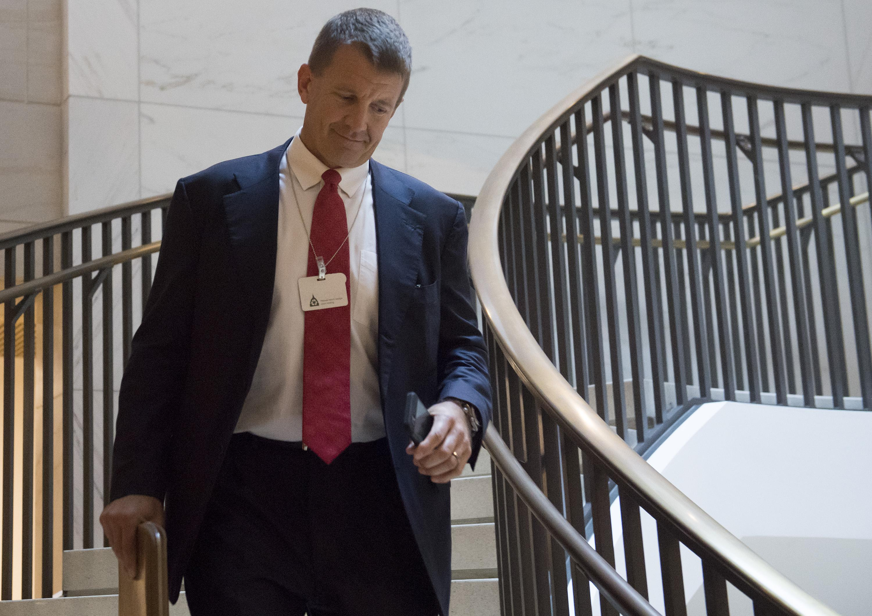 Erik Prince arrives to testify during a closed-door House Select Intelligence Committee hearing on Capitol Hill in Washington, DC, November 30, 2017.