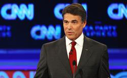 Republican presidential candidate Gov. Rick Perry during a debate sponsored by CNN and The Tea Party Express. Click image to expand.