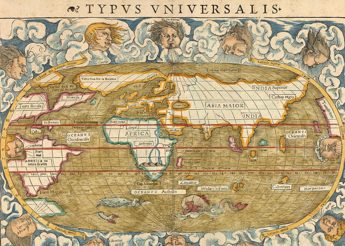Typus Universalis. World map surrounded by illustrations of wind heads, 1542.