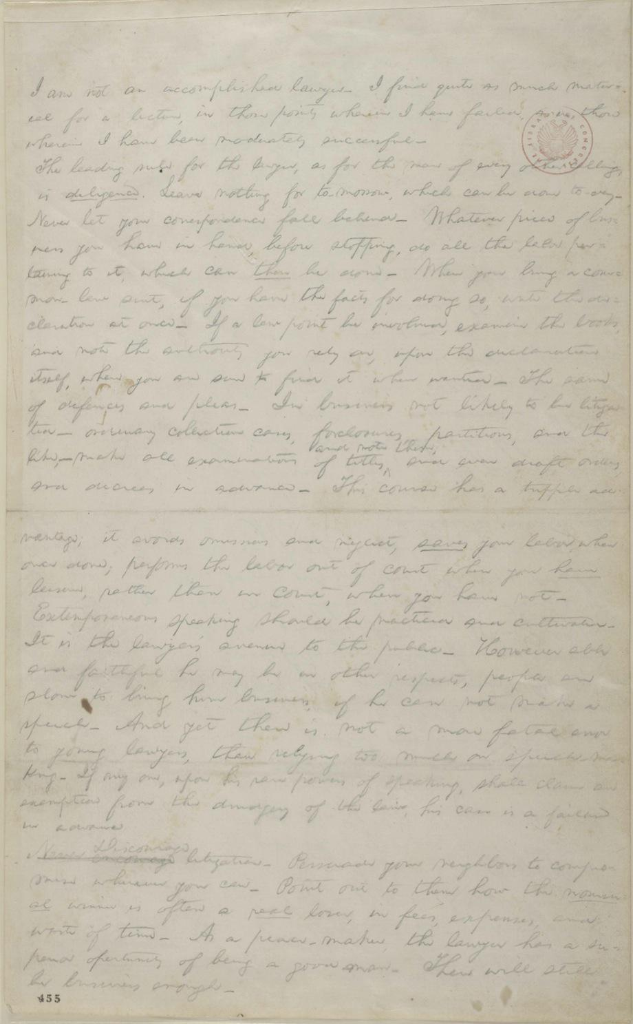 Lincoln's notes for a lecture on law